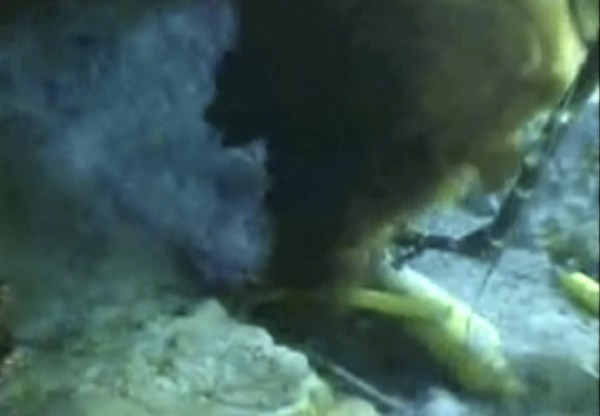 Oil gushes from a ruptured Gulf of Mexico well, in this frame grab of a live video feed released on May 20, 2010.