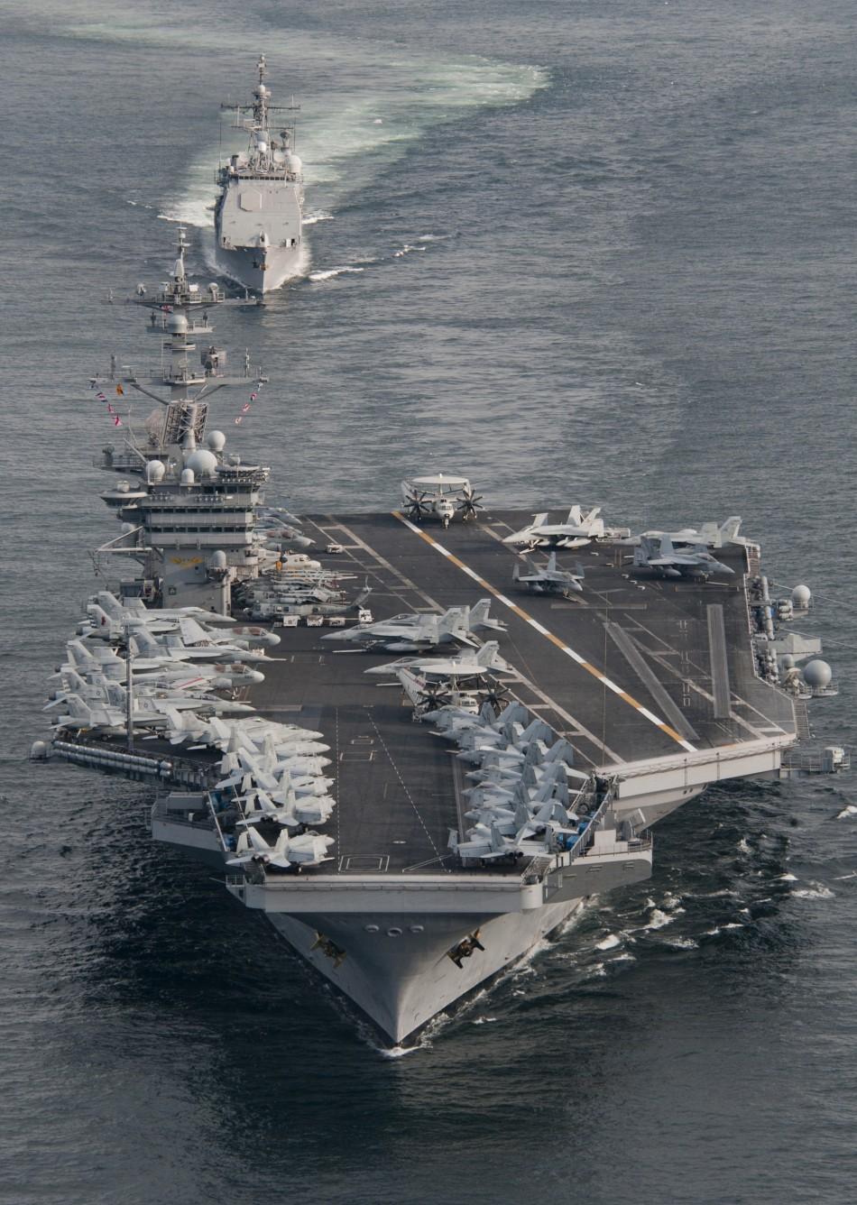 The Nimitz-class aircraft carrier USS Carl Vinson