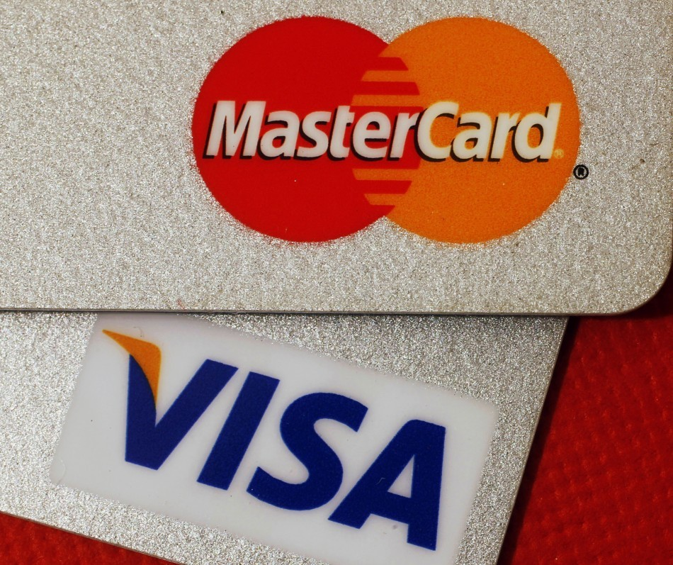 MasterCard and VISA credit cards are seen in this illustrative photograph taken in Hong Kong December 8, 2010.