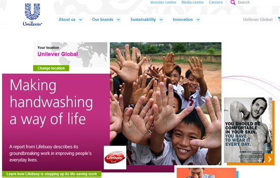 A webshot of Unilever Plc's corporate homepage