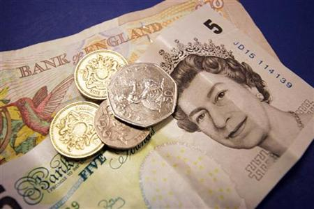A generic picture of a some British sterling money in coins and bank notes.
