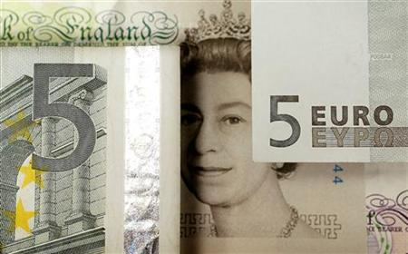 A generic image shows the face of Queen Elizabeth seen on a five pound note alongside euro currency in London
