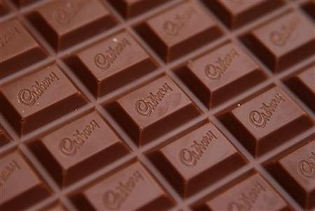 The Cadbury name is seen on a bar of Dairy Milk chocolate in Manchester