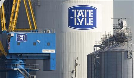 The logo of Tate and Lyle is pictured in east London