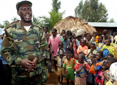 File photo of Union of Congolese Patriots leader talking to villagers near Bunia in Congo