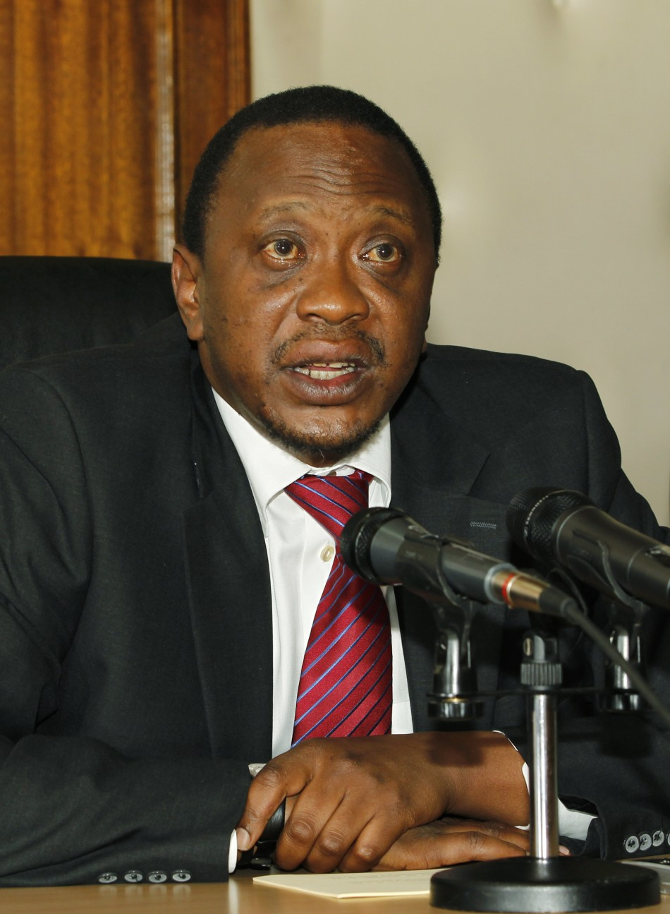 Kenyas finance minister Kenyatta addresses a news conference in his office in the capital Nairobi