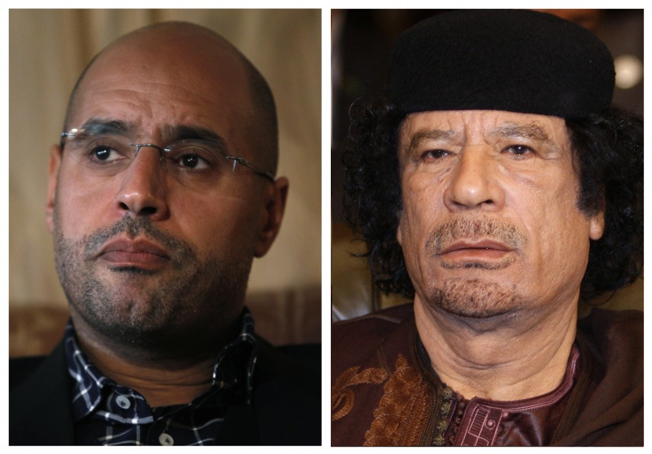A combination of photos shows Saif al-Islam and his father Libyan leader Muammar Gaddafi