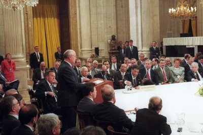 Soviet President Gorbachev addresses the first meeting of the Mideast peace conference in Madrid