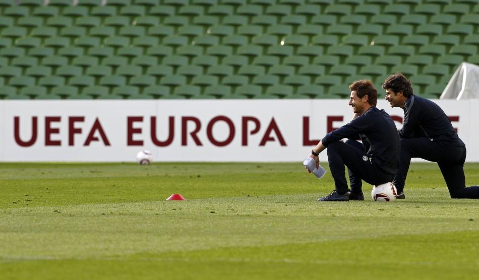Porto's coach Andre Vilas-Boas overseas a training session at the Dublin Arena, accompanied by assistant coach Jose Mario Rocha