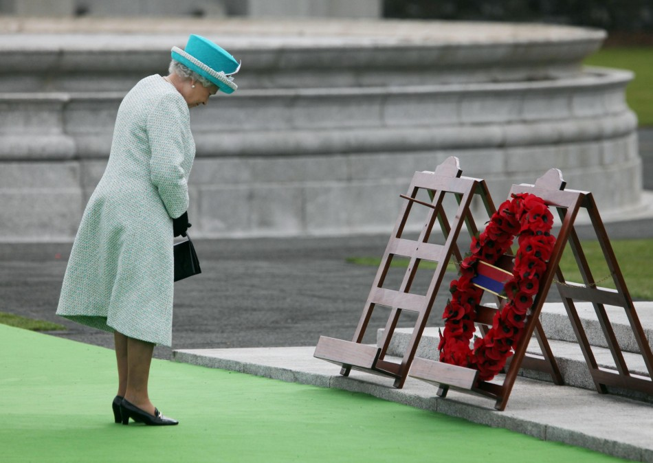 The Queen takes part in a wreath laying ceremony at the Irish War Memorial Garden in Dublin