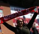 The scene outside Anfield before the game
