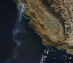 NASA california fire smoke tail