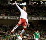 Denmark's Nicklas Bendtner celebrates goal